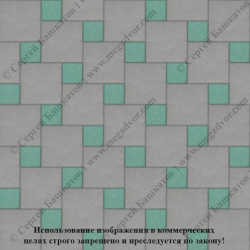 Квадрат со Вставкой (серый, зелёный)