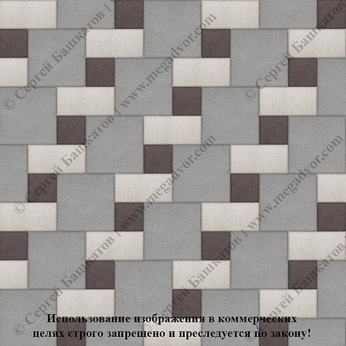 Квадрат Кирпич Вставка (серый, белый, коричневый)