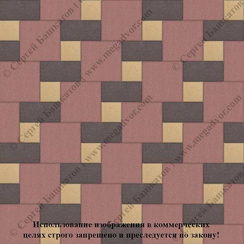 Квадрат Кирпич Вставка (красный, коричневый, жёлтый)