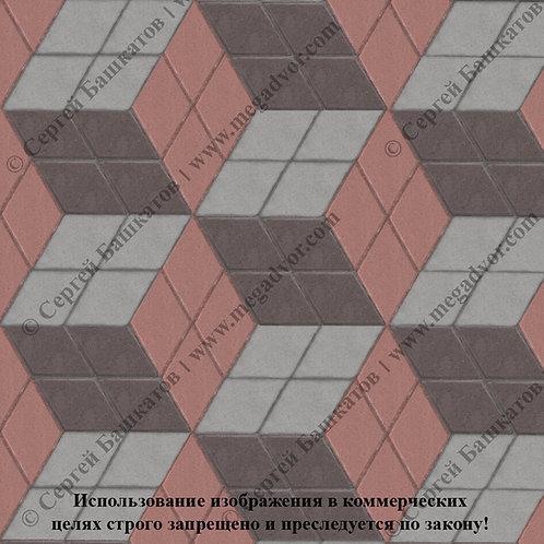 Ромб 3D Макси (серый, красный, коричневый)