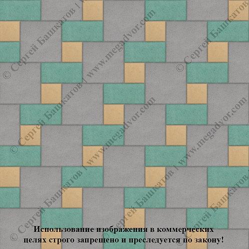 Квадрат Кирпич Вставка (серый, зелёный, жёлтый)