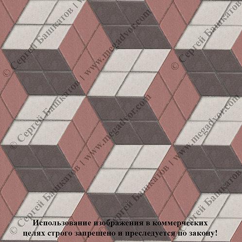 Ромб 3D Макси (красный, белый, коричневый)