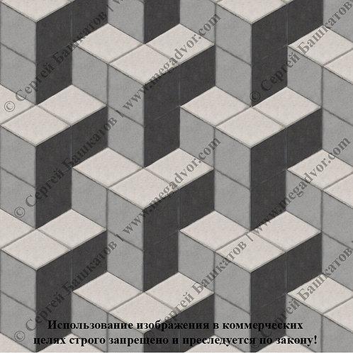 Ромб Куб в кубе (серый, белый, чёрный)