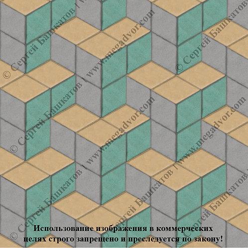 Ромб Куб в кубе (серый, зелёный, жёлтый)