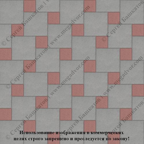 Квадрат со Вставкой (серый, красный)