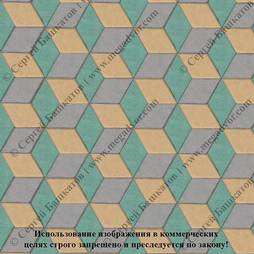 Ромб 3D Мини (серый, зелёный, жёлтый)