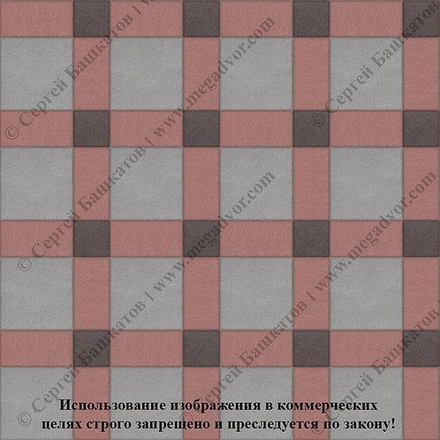 Квадрат 200*200 мм Корзинка (серый, красный, коричневый)