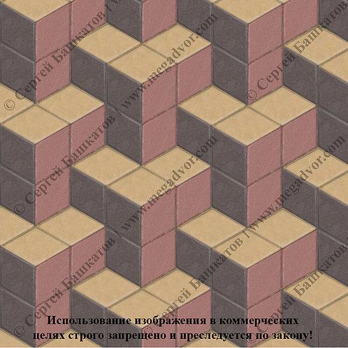 Ромб Куб в кубе (красный, коричневый, жёлтый)