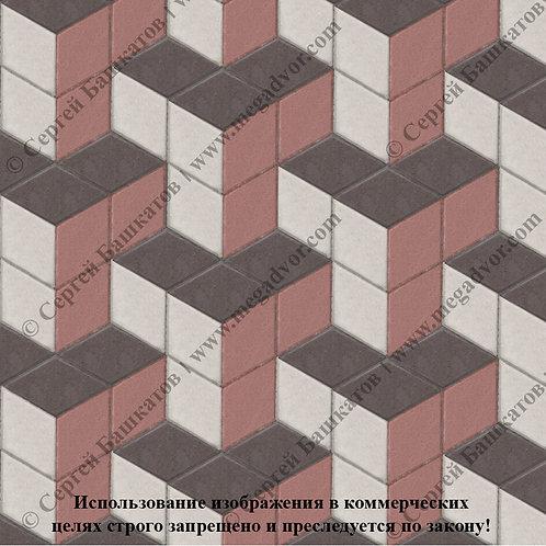 Ромб Куб в кубе (белый, красный, коричневый)