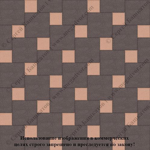 Квадрат со Вставкой (коричневый, оранжевый)