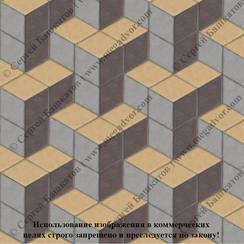 Ромб Куб в кубе (серый, коричневый, жёлтый)