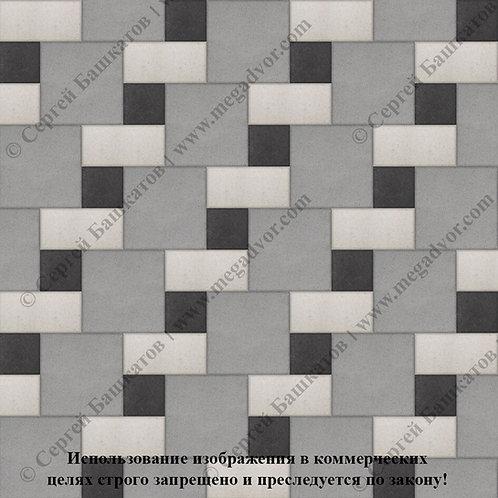 Квадрат Кирпич Вставка (серый, белый, чёрный)