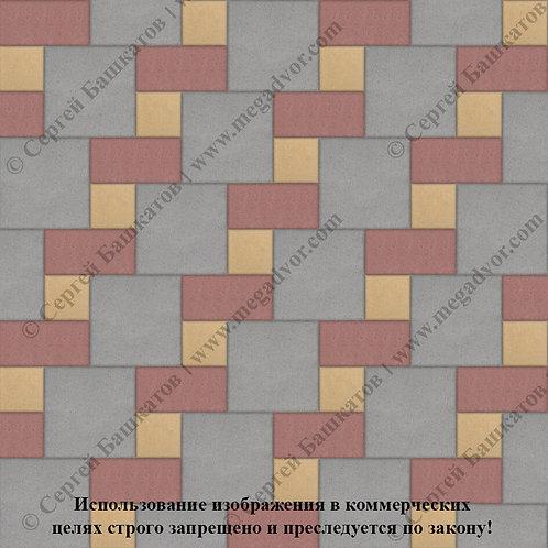 Квадрат Кирпич Вставка (серый, красный, жёлтый)