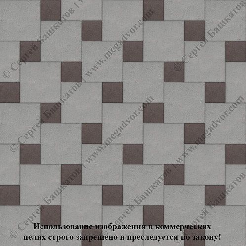 Квадрат со Вставкой (серый, коричневый)
