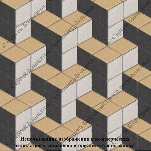 Ромб Куб в кубе (белый, чёрный, жёлтый)