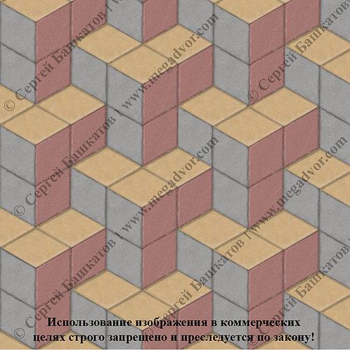 Ромб Куб в кубе  (серый, красный, жёлтый)