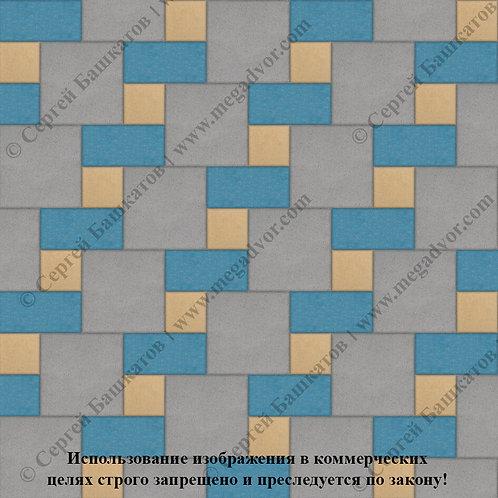 Квадрат Кирпич Вставка (серый, синий, жёлтый)