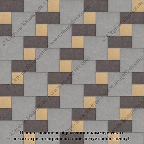 Квадрат Кирпич Вставка (серый, коричневый, жёлтый)