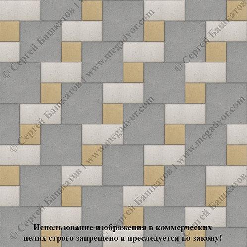 Квадрат Кирпич Вставка (серый, белый, жёлтый)