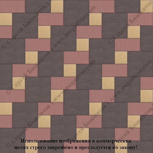 Квадрат Кирпич Вставка (коричневый, красный, жёлтый)