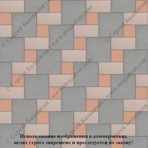 Квадрат Кирпич Вставка (серый, бежевый, оранжевый)