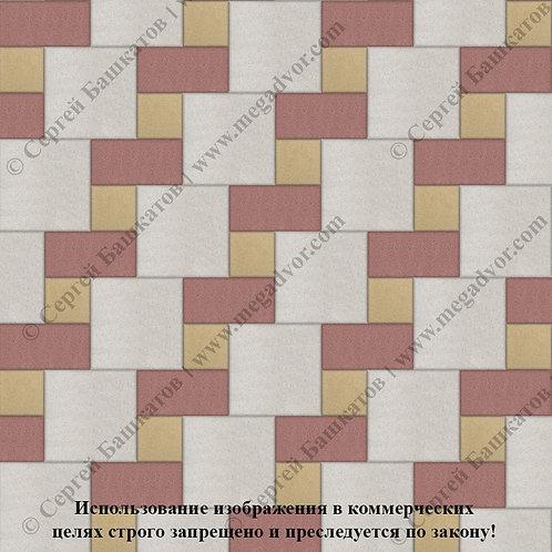 Квадрат Кирпич Вставка (белый,красный,жёлтый)