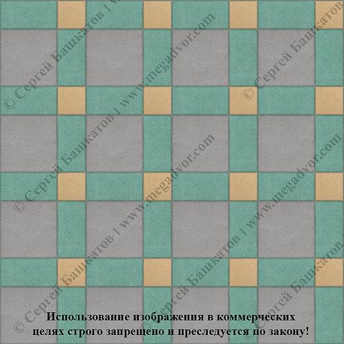 Квадрат 200*200 мм Корзинка (серый, зелёный, жёлтый)