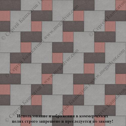 Квадрат Кирпич Вставка (серый, коричневый, красный)