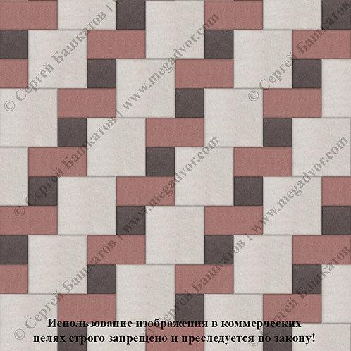 Квадрат Кирпич Вставка  (белый, красный, коричневый)
