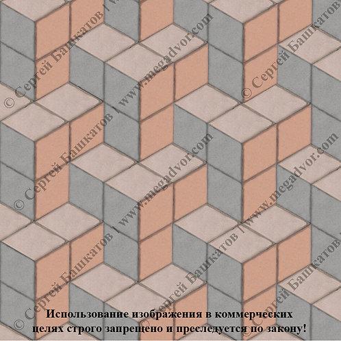 Ромб Куб в кубе (серый, бежевый, оранжевый)