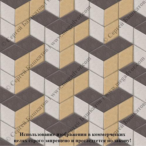 Ромб Куб в кубе (белый, коричневый, жёлтый)