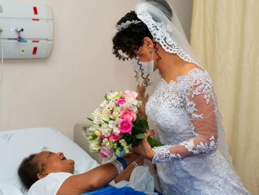 """Antes do """"sim"""", filha vai vestida de noiva a hospital e surpreende mãe internada em BH"""