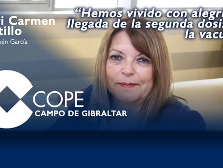 """Mari Carmen Portillo: """"Hemos vivido con alegría la llegada de la segunda dosis de la vacuna"""""""