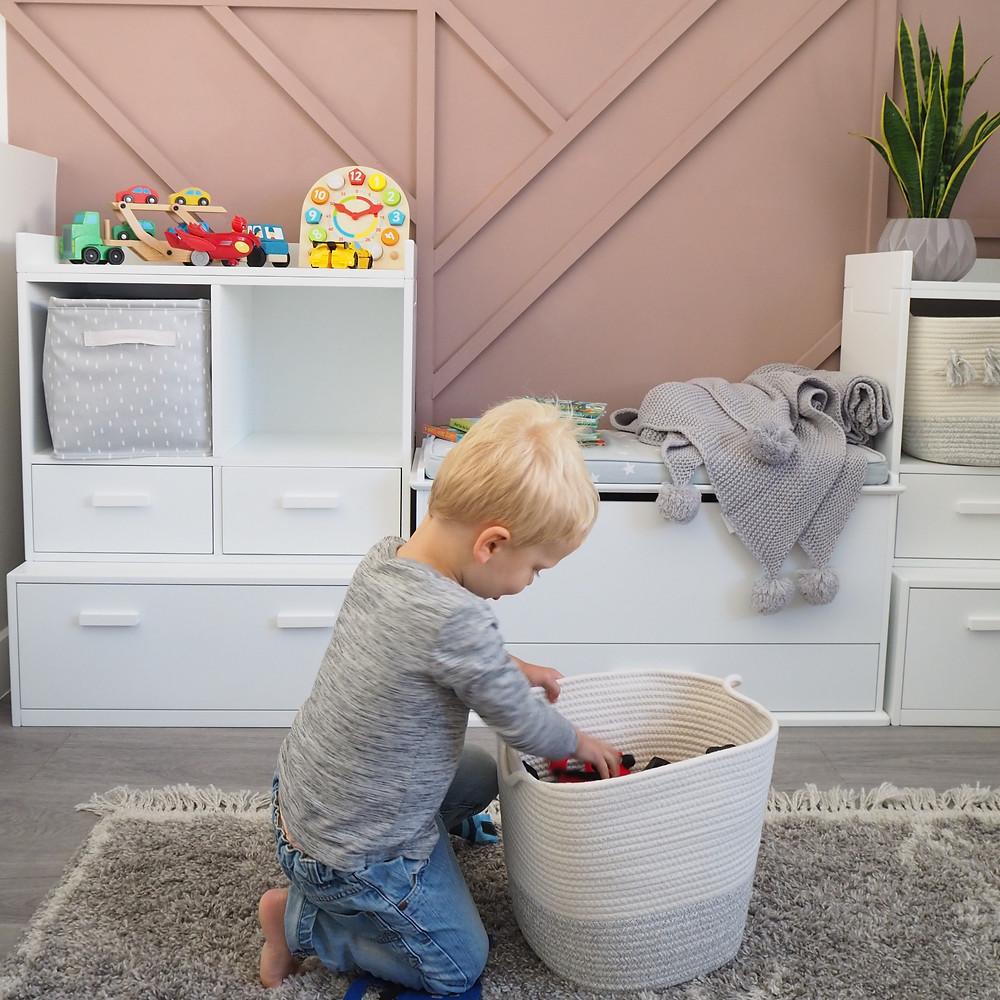 Playroom storage baskets