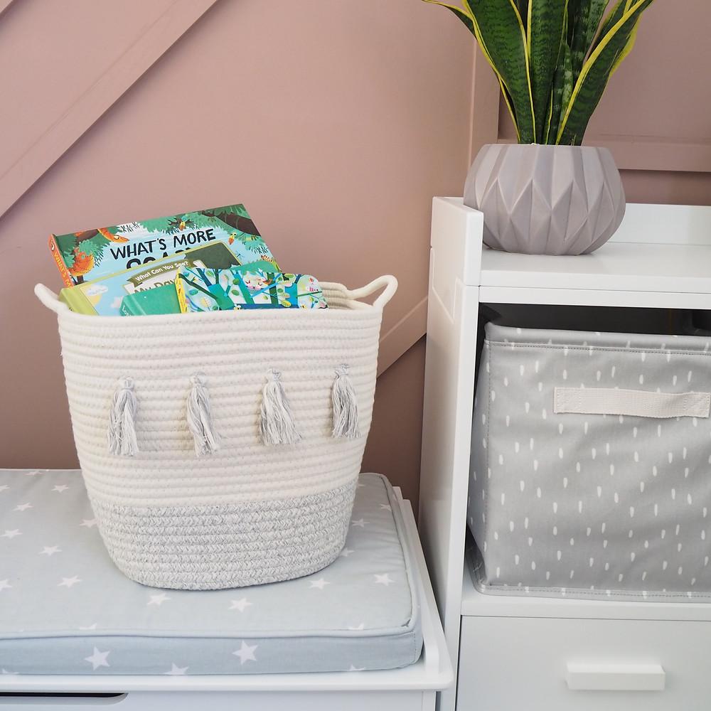 Grey Tassel Storage Basket