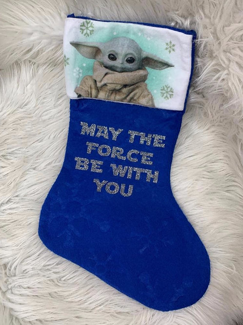 'May the Force Be With You'| BABY YODA| Christmas Stocking