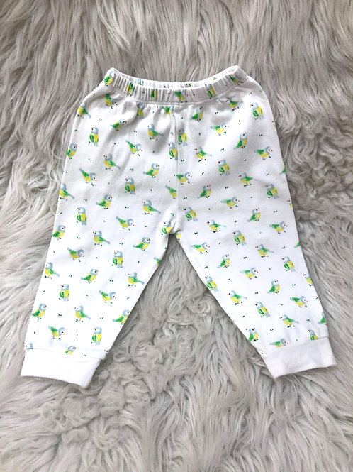 *Green Bird* White Pants| 3-6 MONTHS