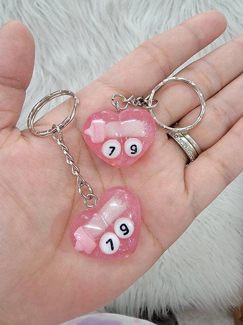 Pink Heart '79 Keychain'