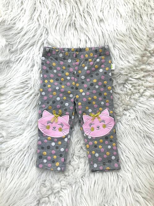 Polk-a-Dot Grey Cat Pants| 3-6 MONTHS