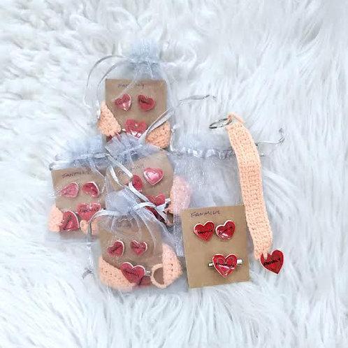 Earrings, Pin, & Keychain Set (Fanmily)  Pastel Peach