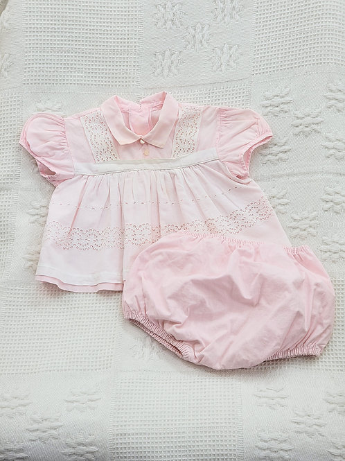 0-3 MONTHS| VINTAGE Pink Dress w/Bloomers Plastic Lining