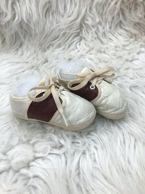 Vintage Brown Saddle Crib Shoes  Size1