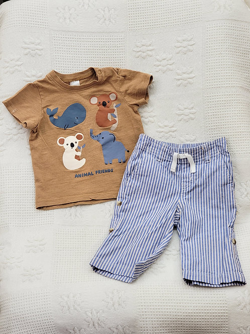 3-6 MONTHS| 'H&M' Top+'Janie and Jack' Pants