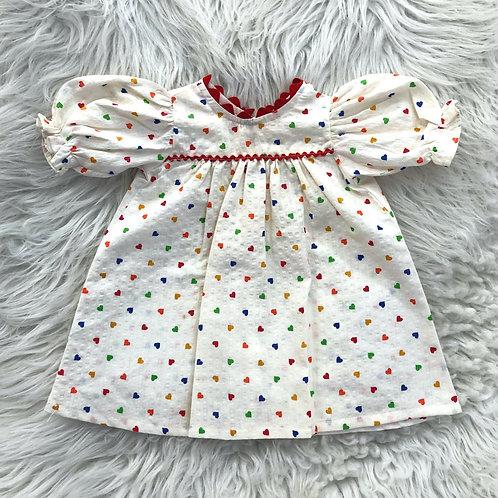 VINTAGE 'Multi-Color HEART Dress' Homemade Dress| 0-3MONTHS