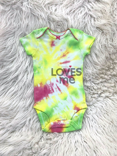 Customized by Stephanie| Tie Dye Onesie (Mommy Loves Me)| 6 MONTHS