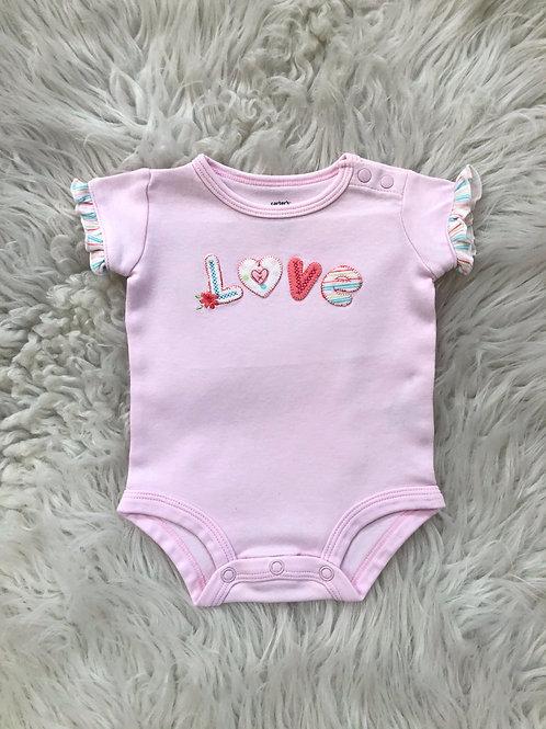 Vintage 'Carters' *LOVE* Pink Onesie w/Ruffle Sleeves  NB