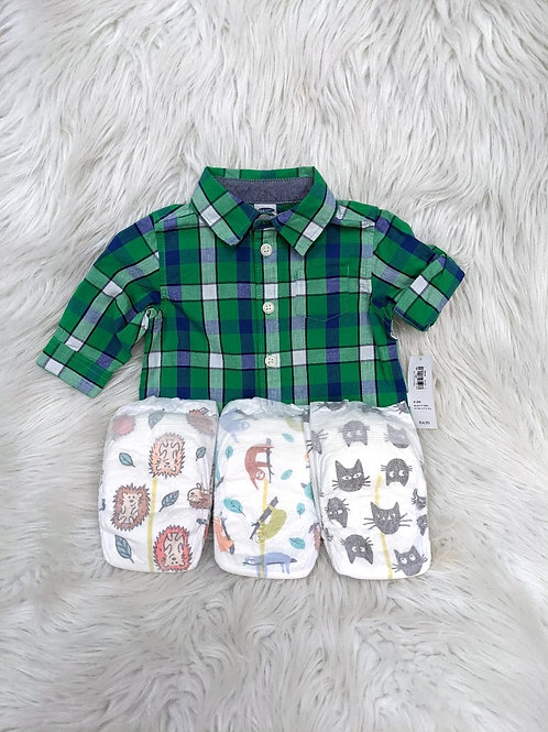 'Old Navy' Plaid Shirt+3 Diapers | 0-3 MONTHS