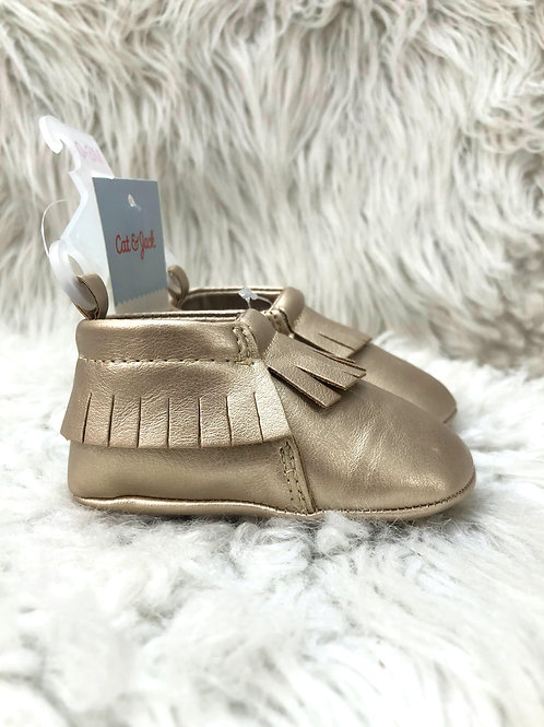 'Cat & Jack' Golden Moccasins Shoes NWT  Size 2