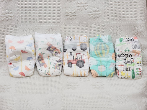 Size 1  Honest Diapers 🚜☂️🐨🐘🐔  Set of 5