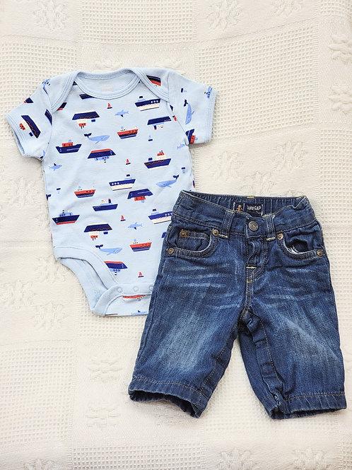 3-6 MONTHS| 'Old Navy' *boat* Onesie & 'Baby Gap' Jeans